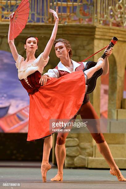 Olga Smirnova as Kiri and Denis Rodkin as Basil in The Bolshoi Ballet's production of Marius Petipa's Don Quixote staged by Alexei Fadeyechev at The...
