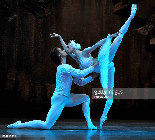 Olga Smirnova as Odette/Odile and Denis Rodkin as Prince Siegfried in the Bolshoi Ballet's production of Swan Lake choreographed by Yuri Grigorovich...