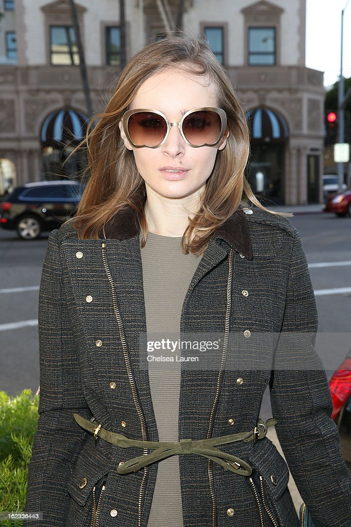 Olga Sorokina shops on Rodeo Drive during the Academy Awards week on February 21, 2013 in Los Angeles, California.