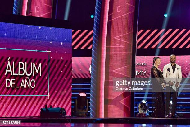 Olga Tanon and Alexandre Pires speak onstage during The 18th Annual Latin Grammy Awards at MGM Grand Garden Arena on November 16 2017 in Las Vegas...