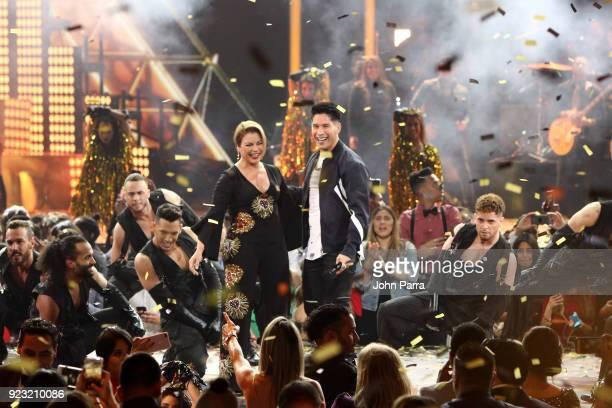 Olga Tanon and Chyno Miranda perform onstage at Univision's 30th Edition Of 'Premio Lo Nuestro A La Musica Latina' at American Airlines Arena on...