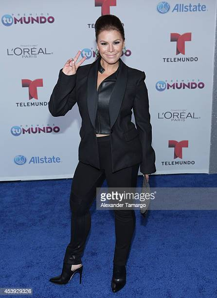 Olga Tanon arrives at Telemundo's Premios Tu Mundo Awards 2014 at American Airlines Arena on August 21 2014 in Miami Florida