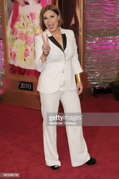 Olga Tanon arrives at the 25th anniversary of Univision's Premio lo Nuestro a la Musica Latina at the AmericanAirlines Arena on February 21 2013 in...