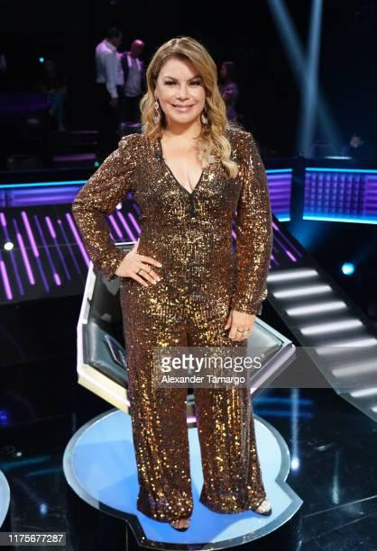 Olga Tanon is seen during the Reina de la Cancion taping at Univision Studios on October 10 2019 in Miami Florida