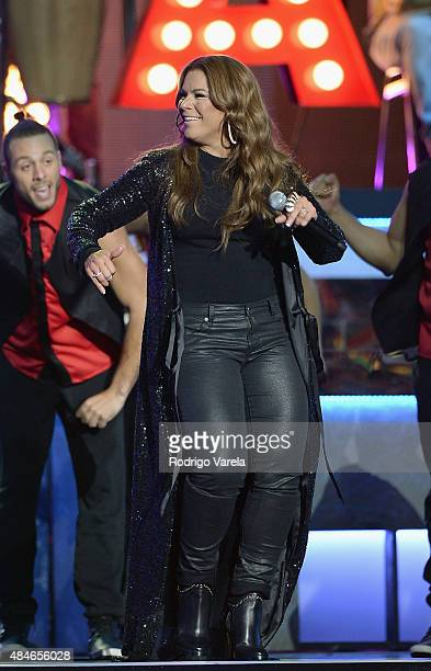 Olga Tanon performs onstage at Telemundo's 'Premios Tu Mundo' Awards 2015 at American Airlines Arena on August 20 2015 in Miami Florida