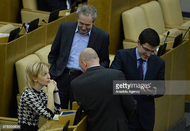 Olga Timofeeva member of Information Policy Information Technology and Communications committee attends the Russian State Duma general assembly...