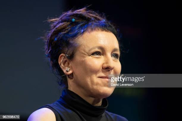 Olga Tokarczuk Man Booker International winning author 2018 at the Hay Festival on May 26 2018 in HayonWye Wales