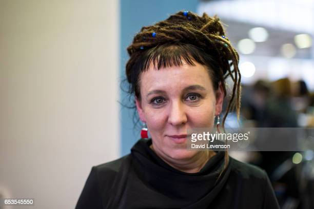 Olga Tokarczuk Polish writer at the London Book Fair 2017 at Olympia Exhibition Centre on March 15 2017 in London England