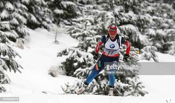 Olga Zaitseva of Russia competes in the women's 75km sprint event during the IBU Biathlon World Cup on December 6 2013 in Hochfilzen Austria