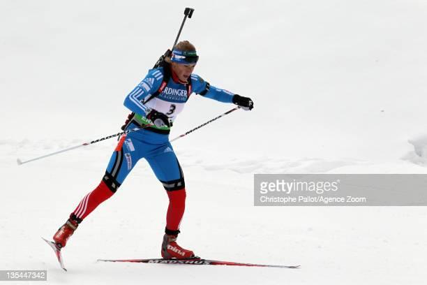 Olga Zaitseva of Russia takes 2nd place during the IBU Biathlon World Cup WomenÕs Pursuit on December 10, 2011 in Hochfilzen, Austria.