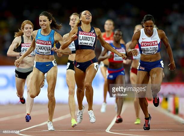 Olha Lyakhova of Ukraine, Renelle Lamote of France and Shelayna Oskan-Clarke of Great Britain cross the finish line in the Women's 800 metres...