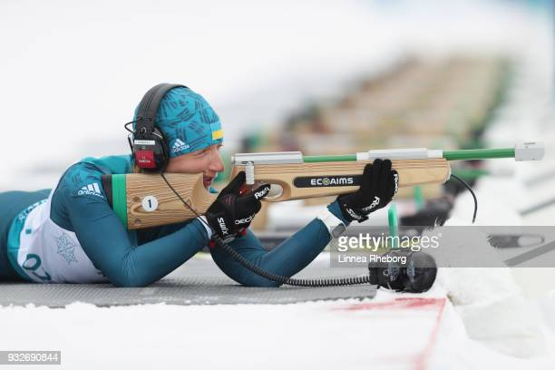 Olha Prylutska of Ukraine shoots during her run in Women's 125km Visually Impaired in Biathlon during day seven of the PyeongChang 2018 Paralympic...