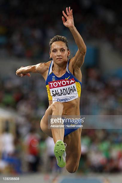 Olha Saladuha of Ukraine competes in the women's triple jump final during day six of the 13th IAAF World Athletics Championships at the Daegu Stadium...