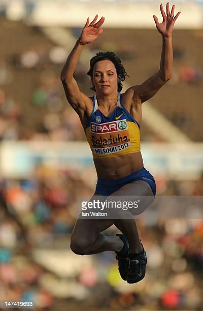 Olha Saladuha of Ukraine competes in the Women's Triple Jump Final during day three of the 21st European Athletics Championships at the Olympic...