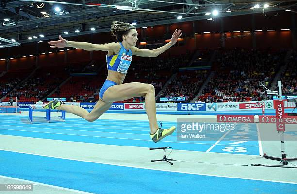 Olha Saladuha of Ukraine competes in the Women's Triple Jump Final during day three of European Indoor Athletics at Scandinavium on March 3 2013 in...