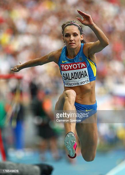 Olha Saladuha of Ukraine competes in the Women's Triple Jump final during Day Six of the 14th IAAF World Athletics Championships Moscow 2013 at...