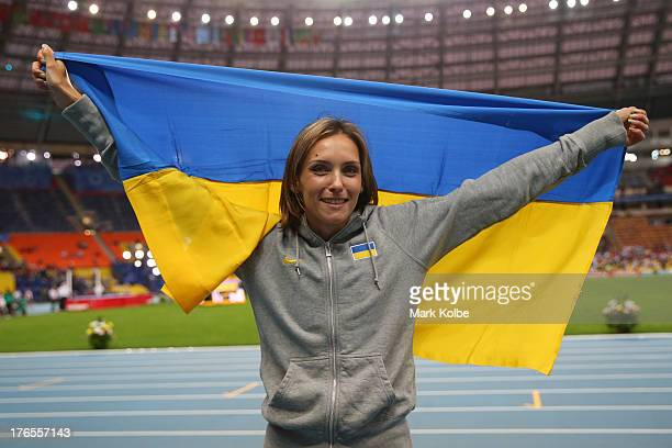 Olha Saladuha of Ukraine wins bronze in the Women's Triple Jump final during Day Six of the 14th IAAF World Athletics Championships Moscow 2013 at...