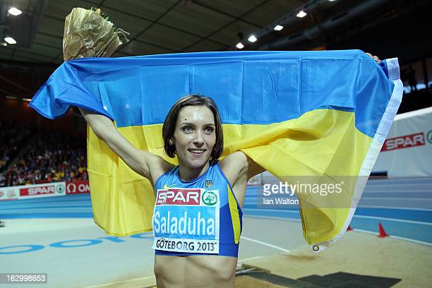 Olha Saladuha of Ukraine wins gold in the Women's Triple Jump Final during day three of European Indoor Athletics at Scandinavium on March 3 2013 in...