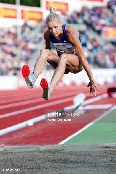 Olha Saladukha competes in women's Triple Jump at Bislett Stadium during a Diamond League event during a Diamond League event on June 13 2019 in Oslo...