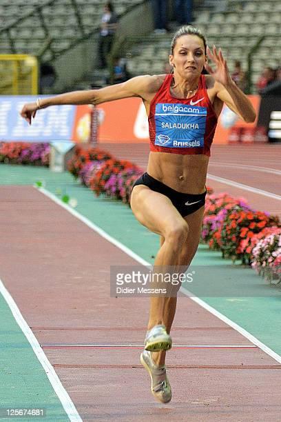 Olha Saladukha from Ukraine competes on theTriple Jump Women during the IAAF Golden League Memorial Van Damme meet at the King Baudouin Stadium on...