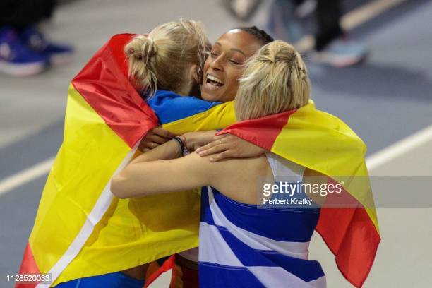 Olha Saladukha of the Ukraine Ana Peleteiro of Spain and Paraskevi Paphristou of Greece compete in the women's triple jump event on March 3 2019 in...