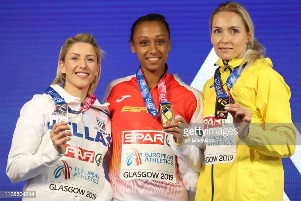 Olha Saladukha of Ukraine Ana Peleteiro of Spain and Paraskevi Papahristou of Greece with their medals during the medal ceremony for the women's...