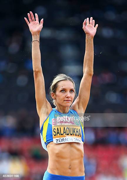 Olha Saladukha of Ukraine celebrates as she wins gold in the Women's Triple Jump final during day five of the 22nd European Athletics Championships...