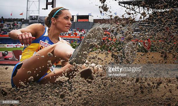 Olha Saladukha of Ukraine competes in the triple Jump during the Women's Heptathlon during Day Three of The European Athletics Championships at...