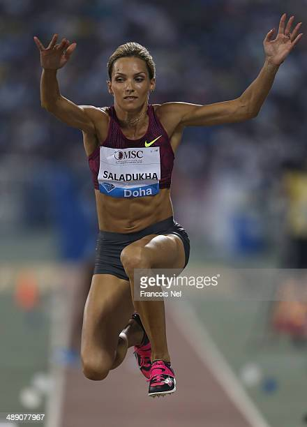 Olha Saladukha of Ukraine competes in the Women's Triple Jump during the 2014 Doha IAAF Diamond League at Qatar Sports Club on May 9 2014 in Doha...