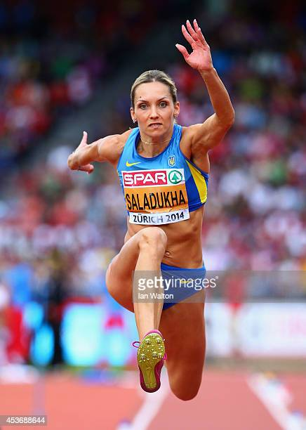 Olha Saladukha of Ukraine competes in the Women's Triple Jump final during day five of the 22nd European Athletics Championships at Stadium...