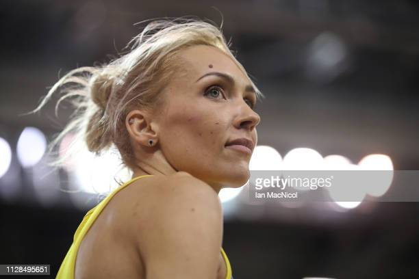 Olha Saladukha of Ukraine in action during the final of the women's triple jump on day three of the 2019 European Athletics Indoor Championships at...