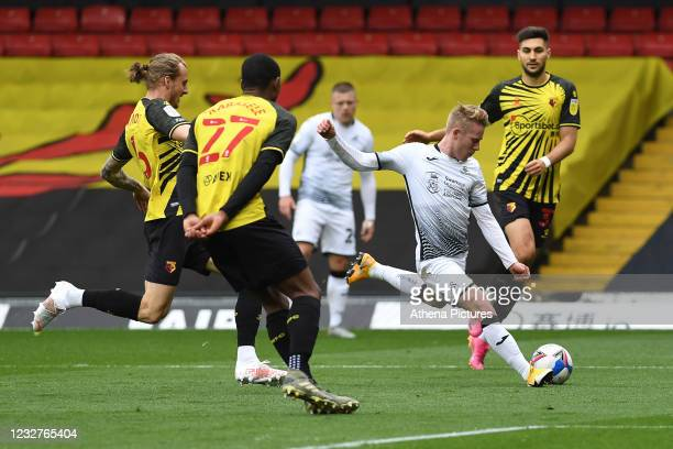 Oli Cooper of Swansea City in action during the Sky Bet Championship match between Watford and Swansea City at Vicarage Road on May 08, 2021 in...
