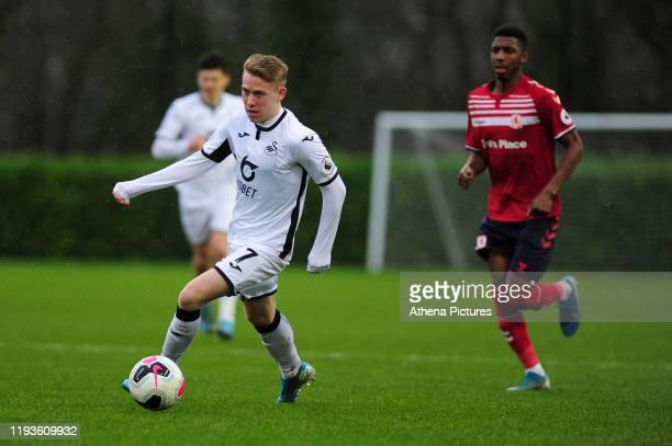 Oli Cooper of Swansea City u23 in action during the Premier League 2 Division Two match between Swansea City u23s and Middlesbrough u23s at Swansea...