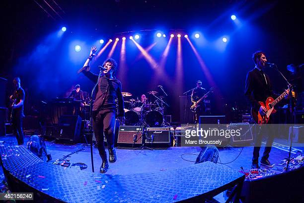 Oli de Sat Francois Matuszenski Nicola Sirkis Mr Shoes Marc Eliard and Boris Jardel of Indochine perform on stage at Shepherds Bush Empire on July 14...