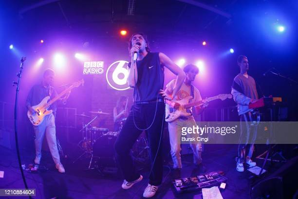 Oli Dewdney, Alex Rice, Henry Young and Ben Mac of Sports Team perform at the Roundhouse Sackler Space on day 1 of BBC Radio 6 Music Festival on...