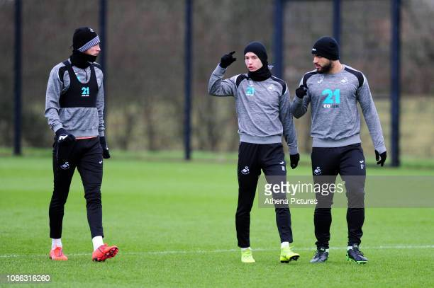 Oli McBurnie Bersant Celina and Cameron CarterVickers of Swansea City in action during the Swansea City Training at The Fairwood Training Ground on...