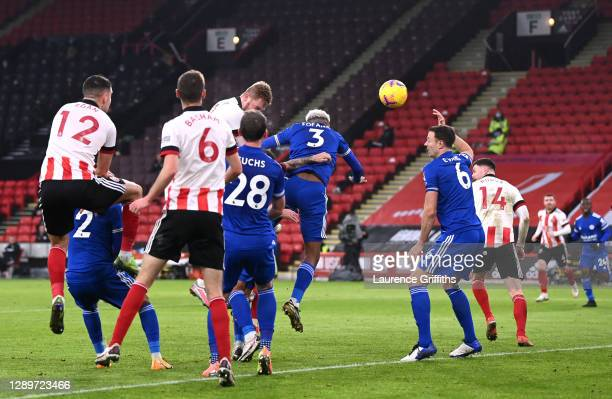 Oli McBurnie of Sheffield United scores their sides first goal during the Premier League match between Sheffield United and Leicester City at Bramall...