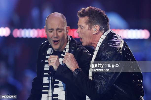 Oli P and David Hasselhoff perform during the TV show 'Heimlich Die grosse SchlagerUeberraschung' on March 17 2018 in Munich Germany