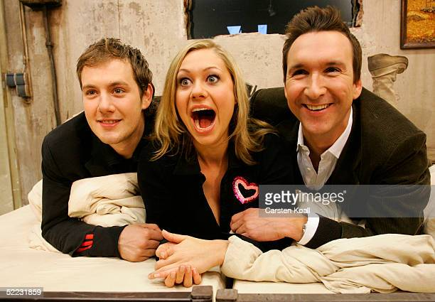 Oli P Ruth Moschner and Jochen Bendel pose during Big Brother Village Press Tour Fenruary 23 2005 in Cologne Germany