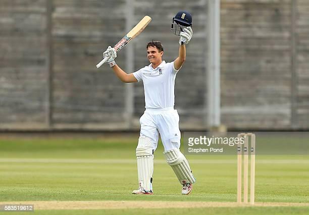 Oli Westbury of England celebrates reaching his century of runs during the match between England U19's and Sri Lanka U19's at the University Cricket...