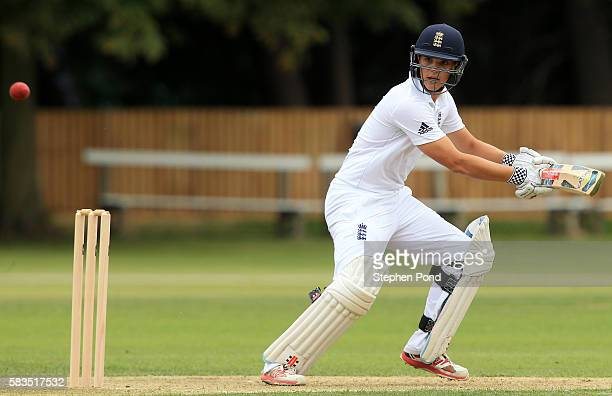 Oli Westbury of England hits out during the match between England U19's and Sri Lanka U19's at the University Cricket Ground on July 26 2016 in...