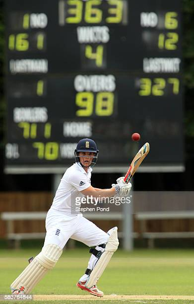 Oli Westbury of England hits out on day two during the match between England U19's and Sri Lanka U19's at the University Cricket Ground on July 27...