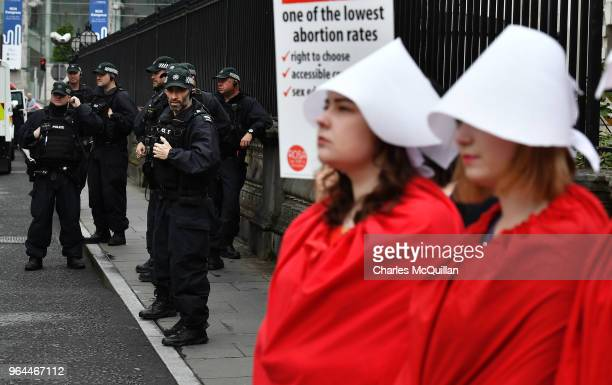 PSNI olice officers watch on from close by as abortion rights campaign group ROSA Reproductive Rights Against Oppression Sexism and Austerity hold a...