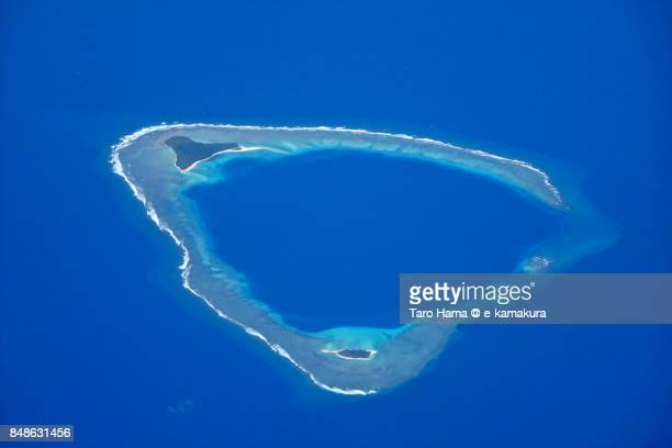 Olimarao Atoll in Caroline Islands in Yap state in Micronesia daytime aerial view from airplane