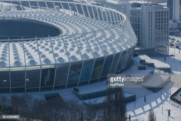 NSC Olimpiyskiy football arena which will hold the final match of Champions League tournament is seen in a Kyiv city scape Feb 25 2018 Kyiv prepares...