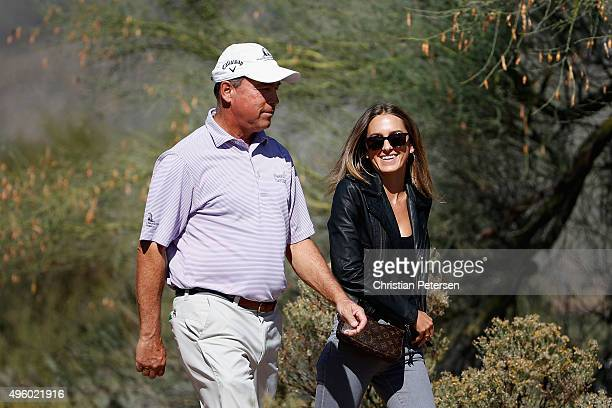 Olin Browne and his daughter Alexandra walk up to the third hole during the second round of the Charles Schwab Cup Championship on the Cochise Course...