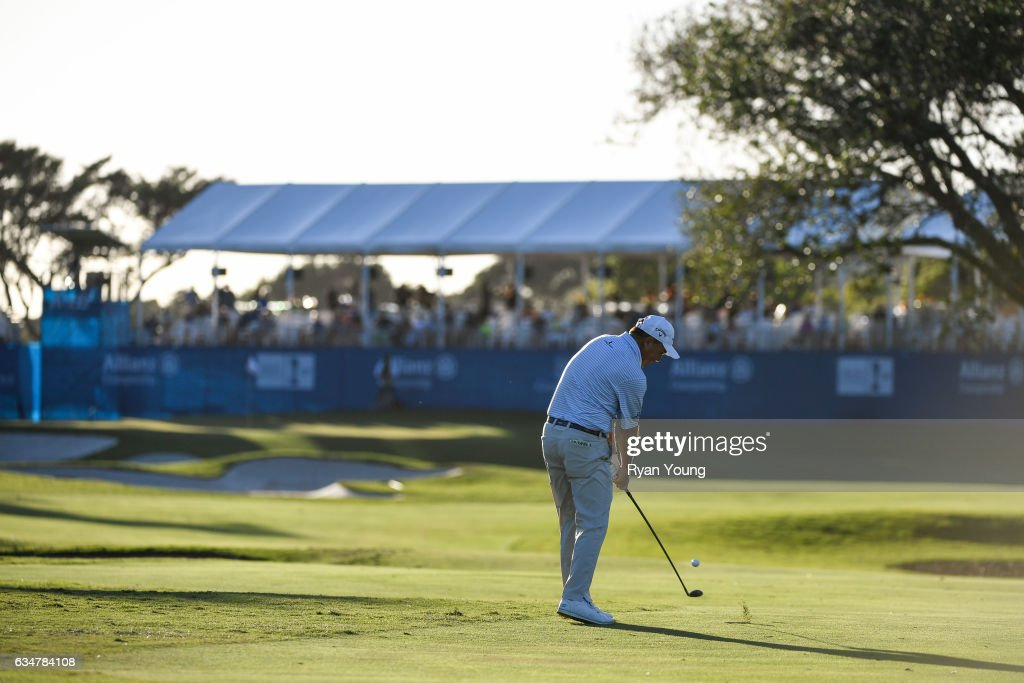 Olin Browne plays his second shot on the 18th hole during the second round of the PGA TOUR Champions Allianz Championship at The Old Course at Broken Sound on February 11, 2017 in Boca Raton, Florida.