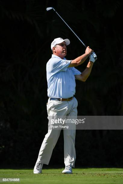 Olin Browne tees off on the third hole during the second round of the PGA TOUR Champions Allianz Championship at The Old Course at Broken Sound on...