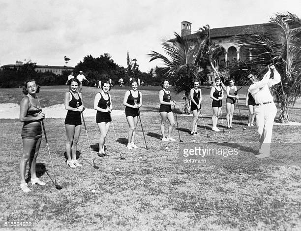 Olin Dutra National open Golf Champion conducting a class in Golf at the Miami Biltmore Country Club at Coral Gables Florida for the aquatic stars...
