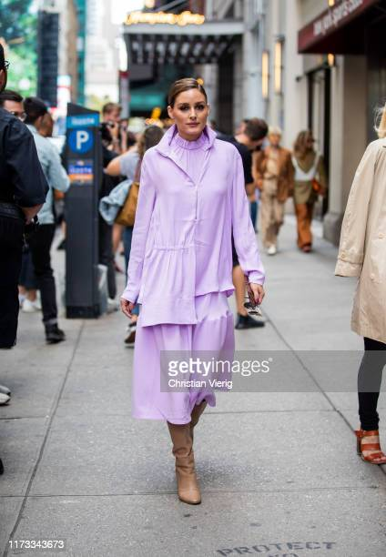 Oliva Palermo is seen wearing pink dress outside Tibi during New York Fashion Week September 2019 on September 08, 2019 in New York City.
